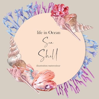 Венок с раковинами и концепцией кораллов, яркие цветные иллюстрации шаблон