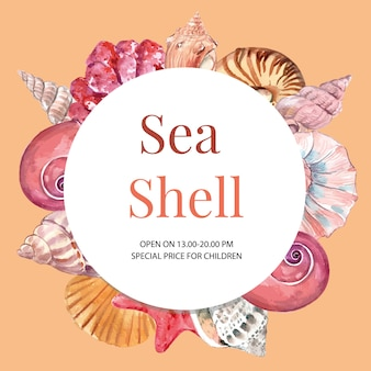 Wreath with shells frame concept, watercolor element illustration template