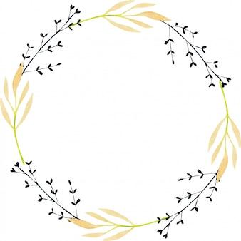 수채화가 나뭇 가지와 화환, 흰색 배경에 손으로 그린