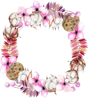 Wreath with watercolor cotton flowers, pink florals and lotus boxes