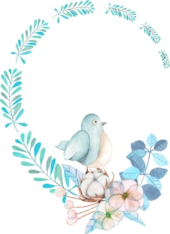 Wreath with watercolor cute bird, blue plants, flowers