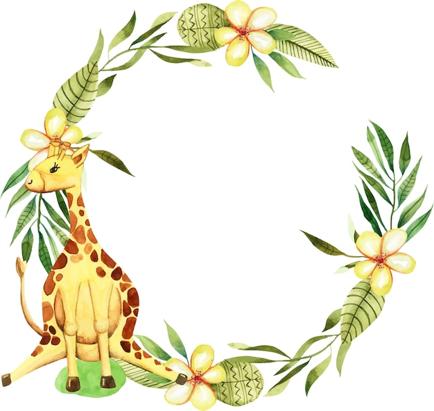 Wreath with watercolor cute giraffe, flowers and floral elements