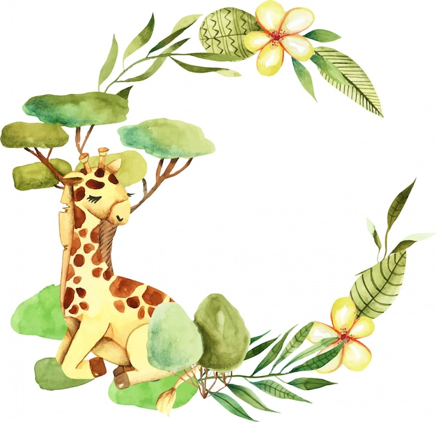 Wreath with watercolor cute giraffe