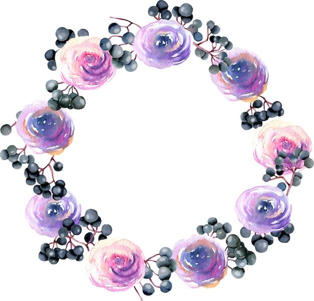 水彩のピンク、紫のバラとニワトコの枝と花輪