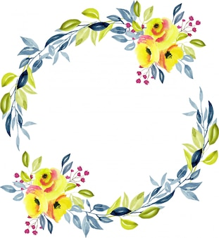 Wreath with yellow roses, blue and green branches