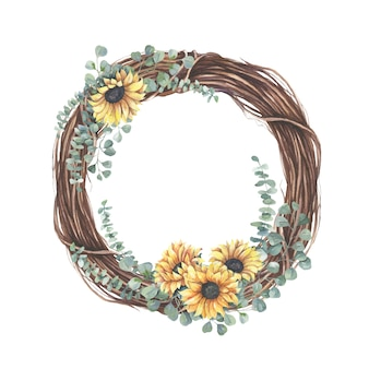 Wreath with yellow  sunflower bouquet.