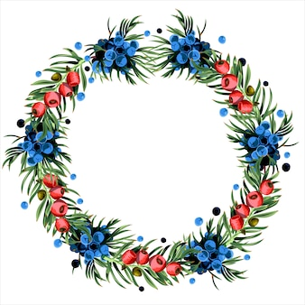 Wreath of yew and juniper branches