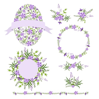 Wreaths and bouquets floral set.