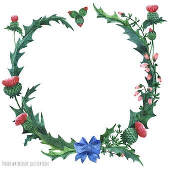 Wreaths from thistle and heather with blue bow-knot