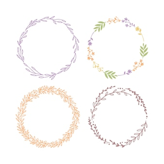 Wreaths of plants set isolated