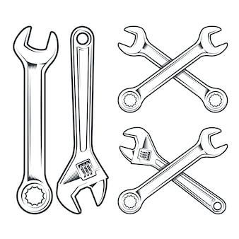 Wrench and adjustable wrench. repair tools icon isolated on white background.