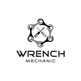 メカニック修理ロゴデザインのインスピレーションのためのレンチとドライバーのサイン