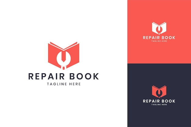 Wrench book negative space logo design