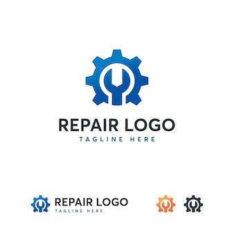 Wrench and gear service logo template