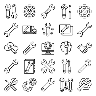 Wrench icons set, outline style