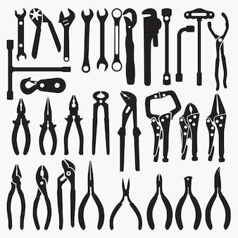 Wrench&pliers silhouettes