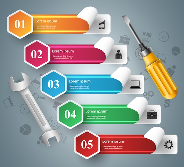 Wrench, screwdriver, repair icon business infographic