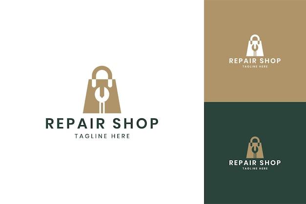 Wrench shop negative space logo design