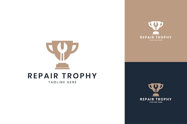 Wrench trophy negative space logo design