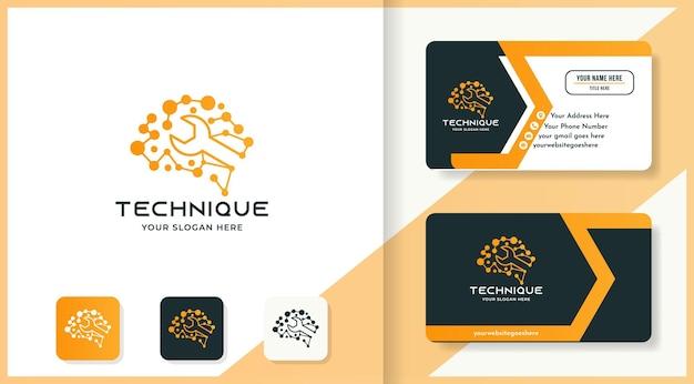 Дизайн логотипа мозга гаечных ключей использует точечную молекулу и визитную карточку