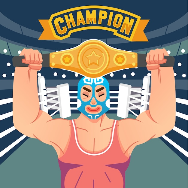 The wrestler raises the belt of victory in the ring with champion letter above  illustration. used for poster, web image and other