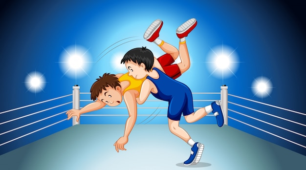 Wrestlers fighting on the fighting ring