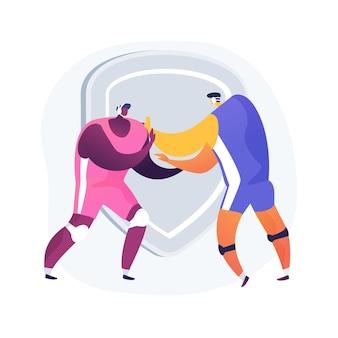 レスリングの抽象的な概念のベクトル図です。プロのトレーニング、機器の購入、レスリングギア、強力なワストラー、グレコローマン、エンターテインメントコンテスト、プロの戦闘機の抽象的な比喩。