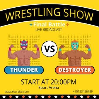 Рекламный плакат трансляции финального боя борцовского шоу. луча либре мексиканский экстремальный борец в маске готов к спортивным соревнованиям, продвижению дизайна, векторная иллюстрация