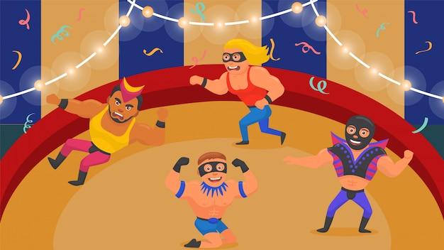 Wrestling спорт, иллюстрация действия сильного человека. атлет персонаж в конкурсе костюмированных боев, мужской мультипликационный бой.