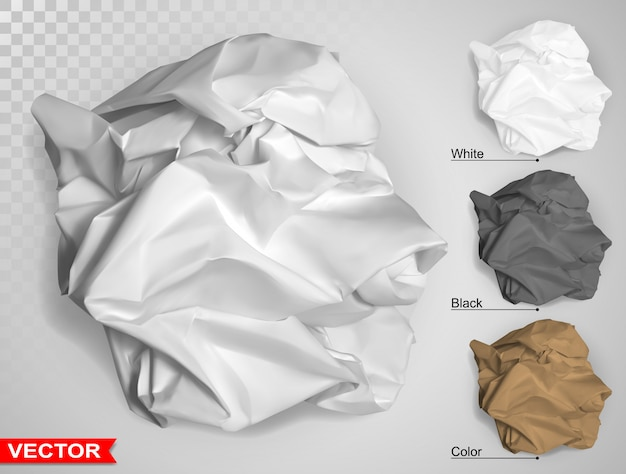Wrinkled crumpled realistic carton paper ball