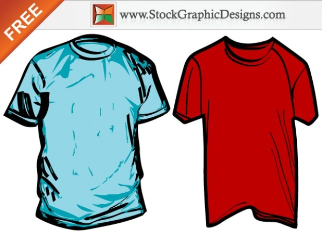 주름 된 남자의 티셔츠 무료 벡터 템플릿