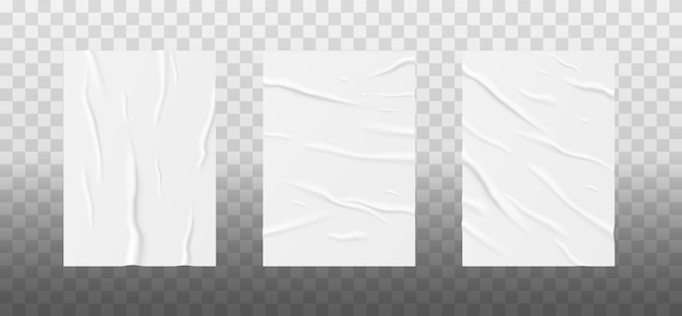 구겨진 종이 시트 세트. 투명한 배경에 격리된 벽에 붙인 포스터나 전단지를 위한 현실적인 템플릿입니다. 3d 벡터 일러스트 레이 션