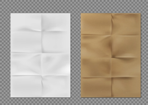 Wrinkled paper texture white brown kraft sheets