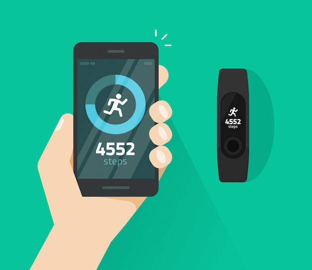 Wrist band bracelet with run activity and fitness tracking app on mobile phone or smartphone screen vector flat cartoon