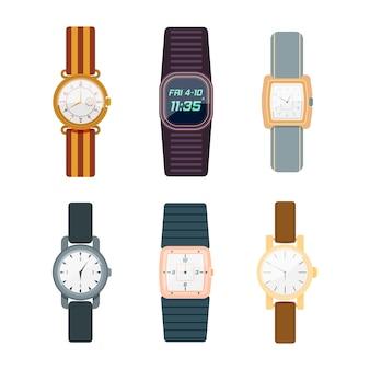 白い背景で隔離の腕時計。男性と女性のデジタルとクラシックな時計コレクションフラットなデザイン。ビジネスマン、スマートウォッチのコレクションファッション時計。