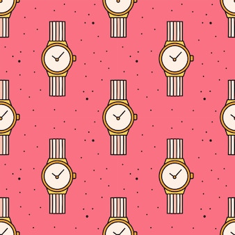 Wrist watch seamless pattern Premium Vector
