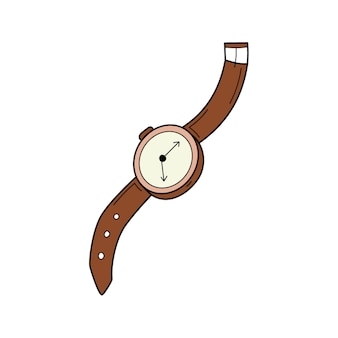 A wrist watch with a strap. doodle style. hand-drawn colorful vector illustration.