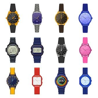 腕時計。古典的な女性の男性の時計、デジタルスマートウォッチ、ファッションユニセックスクロノグラフ、現代の男性の手首の時計のイラストアイコンセット。ファッション時計腕時計アクセサリー、モダンでクラシック