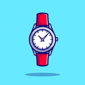 손목 시계 만화 아이콘 그림입니다. 시계 개체 아이콘 개념 절연 프리미엄 벡터입니다. 플랫 만화 스타일