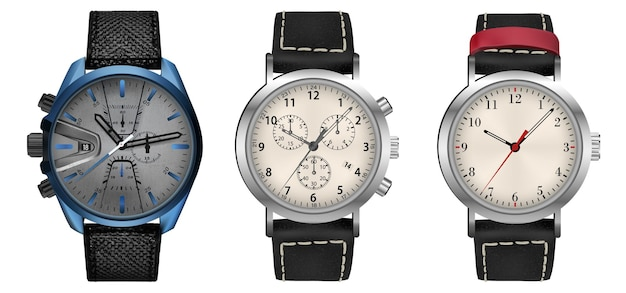 腕時計のコレクション、白で隔離のリアルなアイコン、テクノロジー電子ガジェット、腕時計のベクトルイラスト、興味深いモダンな電子バンドセット。