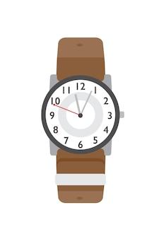 腕時計フラットベクトルイラスト。モダンなアクセサリー、スタイリッシュなアイテム。古典的な腕時計の色のデザイン要素。タイムカウンター、白い背景で隔離の現代的な腕時計。