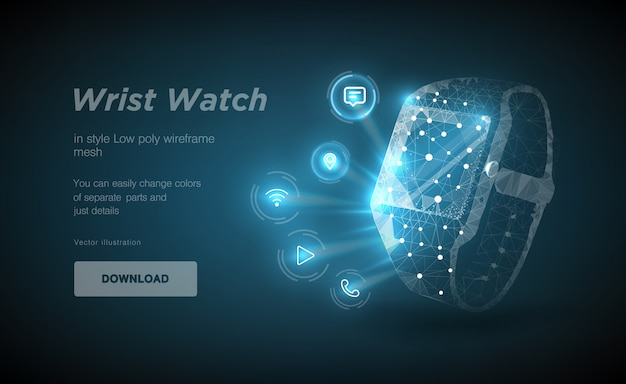 Wristwatch low poly wireframe art. polygonal illustration with connected dots and polygon lines.