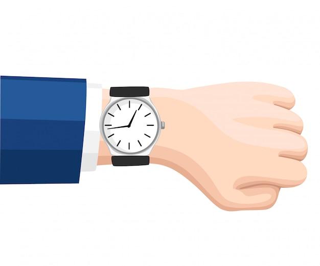 소송에서 사업가의 손에 손목 시계입니다. 손목 시계의 시간. 시간 관리 개념. 흰색 배경에 그림입니다. 웹 사이트 페이지 및 모바일 앱