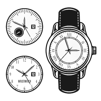 Wristwatch and two clock face set of objects in vintage style