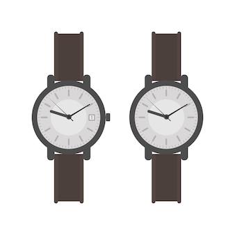 白い文字盤と茶色のストラップが付いた腕時計。フラットスタイルの腕時計。孤立。ベクター。