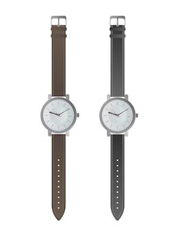 白い文字盤と黒いストラップが付いた腕時計。リアルなスタイルの腕時計。孤立。ベクター。