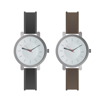 Wristwatch with a white dial and black strap