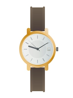Wristwatch with a white dial and a brown strap. wristwatch in a flat style. isolated. vector.
