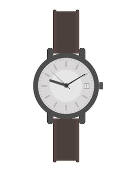 Wristwatch with a white dial and a brown strap. wristwatch in a flat style. isolated