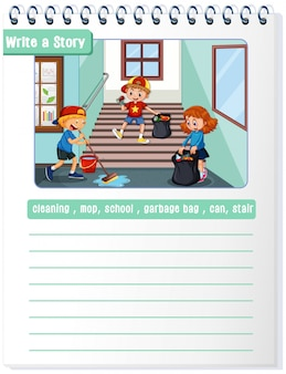 Write a cleaning story illustration copyspace